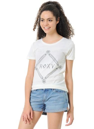 Bisiklet Yaka Baskılı Tişört-Roxy